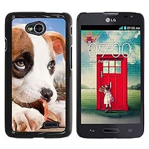TopCaseStore / la caja del caucho duro de la cubierta de protección de la piel - Jack Russell Puppy Beagle Dog Baby - LG Optimus L70 / LS620 / D325 / MS323