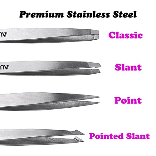 Tweezers Set 4-Piece – AUMELO Professional Stainless Steel Slant Tip and Pointed Eyebrow Tweezers – Great Precision for…