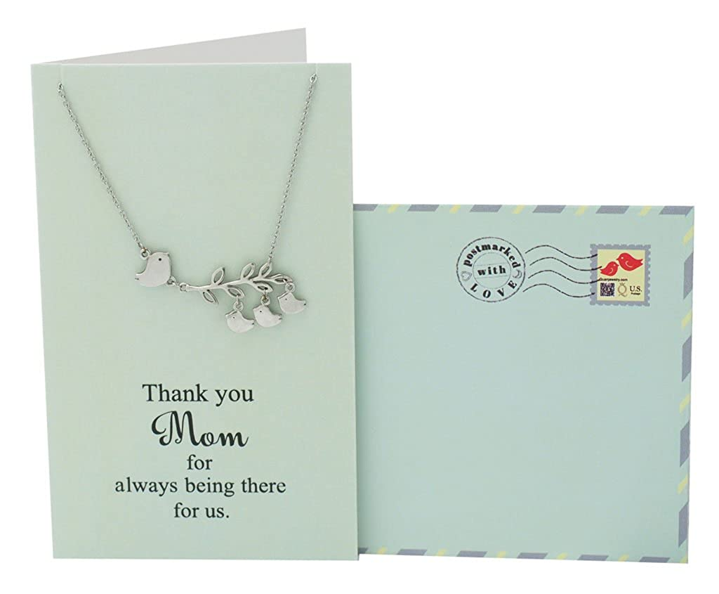 Amazon Quan Jewelry Mom Daughter Necklace 3 Birds Pendant Presents For Mama Grandma Stepmom Thank You Birthday Card 16 In To 18