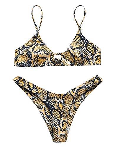 OMKAGI Women's Bikini Swimsuits Cutout Top Brazilian Bathing Suit Thong Bottom(L,Yellow-Snake Print)