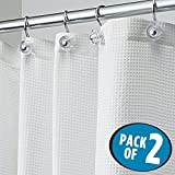 Tall Shower Curtain mDesign Long Light Weight Waffle Weave Polyester Shower Curtain with Reinforced Buttonholes, for Bathroom Showers and Bathtubs – Elegant Woven Geometric Square – 72
