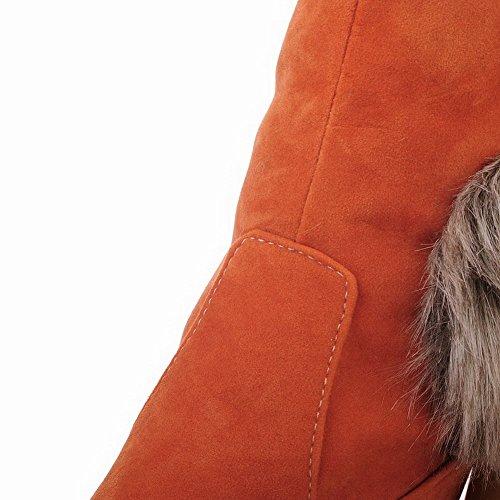 Talons Allhqfashion D'orange Hauts Fermé Haut Solide Bout Givré Haut Bottes Rond Féminin zrgqzA