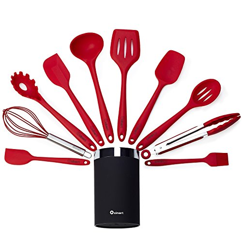 Oxinart 11 Piece All-in-one Silicone Kitchen Utensils Set with Holder. Cooking Utensils Set. Free eBook. (Red)