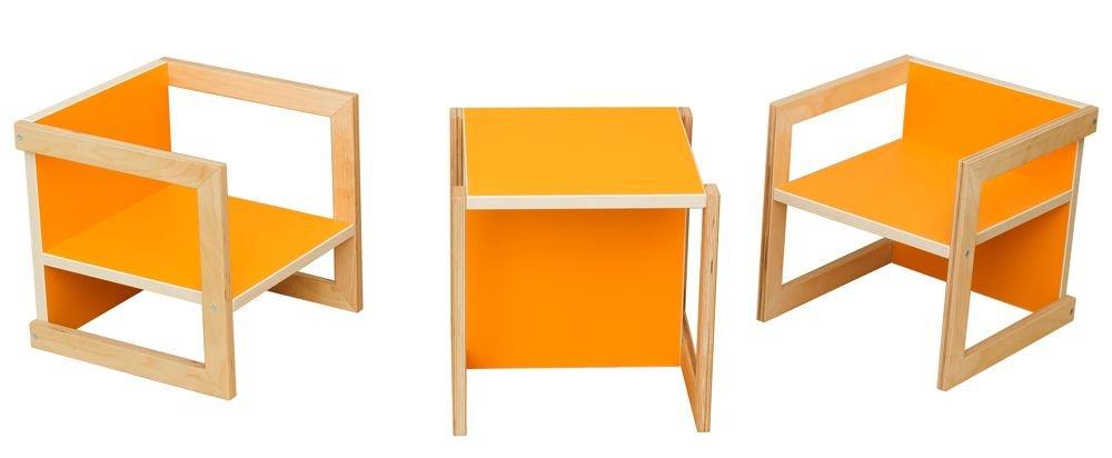 Kindersitzgruppe Michel 3-teilig Birke Orange in in in 3 Sitzhöhen Kinderstuhl 61f924