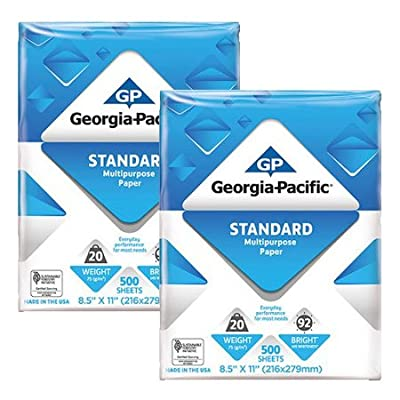 Georgia-Pacific Copy and Print Paper, 8.5 x 11 Inches Letter Size, 92 Bright White, 20 Lb, 1 Ream (500 sheets) Poly Wrapped