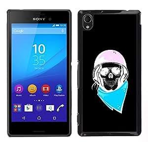 """For Sony Xperia M4 Aqua Case , Biker Azul Rosa Negro motorista Casco"""" - Diseño Patrón Teléfono Caso Cubierta Case Bumper Duro Protección Case Cover Funda"""
