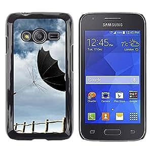 PC/Aluminum Funda Carcasa protectora para Samsung Galaxy Ace 4 G313 SM-G313F Design Black Umbrella / JUSTGO PHONE PROTECTOR