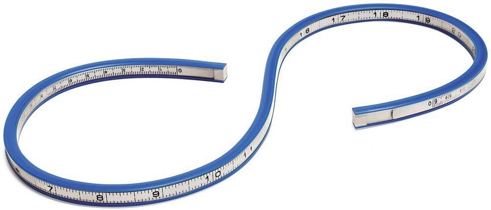 Flexible Curve Ruler Helix Drafting Drawing Measure Tool Soft Plastic Tape Measure Ruler Blue//White T/&B 20 Inch 50cm