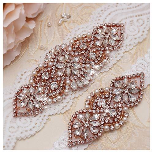 Yanstar Wedding Bridal Garter Set White Champange Navy Lace For Bridal Accessories Rhinestone Garter Lace