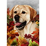 Cheap Best of Breed Fall Leaves Garden Size Flag Yellow Labrador Retriever
