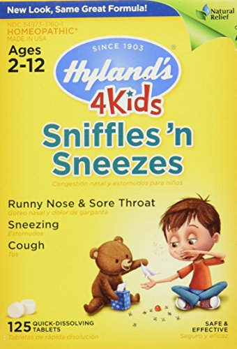 Hyland's 4 Kids Sniffles 'n Sneezes Tablets, Safe and Natural Relief of Runny Nose, Sore Throat, Sneezing and Cough Symptoms for Children, 125 Count (Homeopathic Medicine Sore Throat)