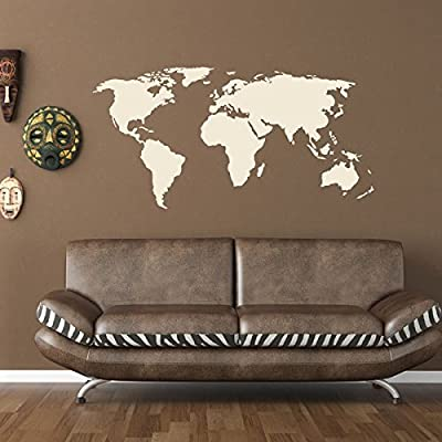 World Map Wall Decal by Style & Apply - Educational Wall Decal, Map Sticker, Vinyl Wall Art, Geography Decor - 1092