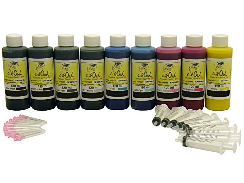 InkOwl 9x120ml Bulk Pigment Ink Refill Kit for use in EPSON Stylus Photo R2880, R3000 with Matte Black - Made in The USA