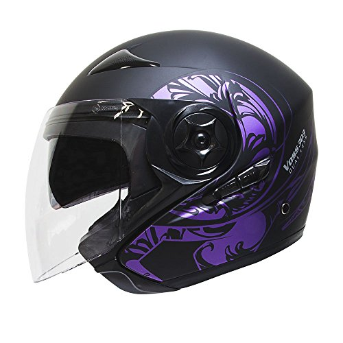 pse Dual Lens DOT Three Quarter Helmet with Integrated Sun Lens and Quick Release System - XS - Metallic Purple/ Matte Black (Metallic Dot Helmets Motorcycle)