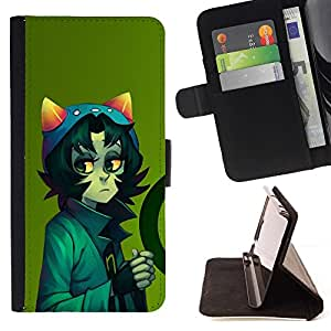 DEVIL CASE - FOR LG G2 D800 - Cute Cat Sci Fi Character - Style PU Leather Case Wallet Flip Stand Flap Closure Cover