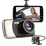 Dash Cam, Abask 4″ IPS FHD 1080p 170 + 120 Degree Wide Angle Dual Lens Car DVR Camera With Loop Recording G-Sensor Parking Monitor 6-Glass Lens Motion Detection WDR Night Vision Time-off Screen