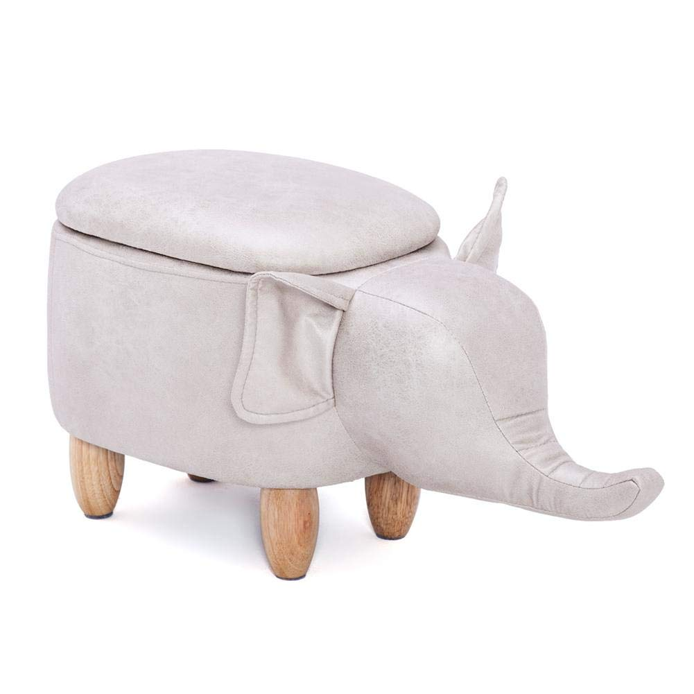 Yosooo Multi-Functional PU Leather Storage Stool Animal Shape Ottoman Foot Rest Stool, Storage Footrest Stool/Padded Seat, Perfect for Gift (Elephant Shape) by Yosooo