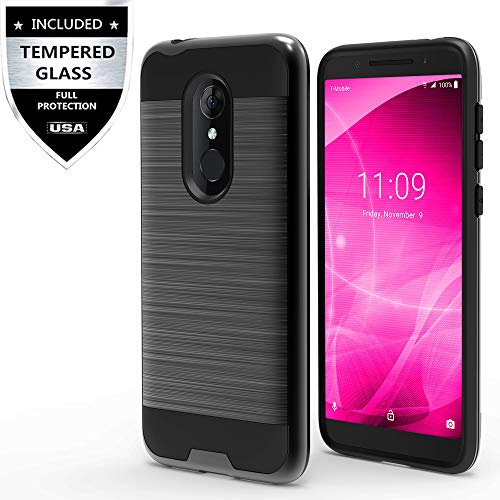 T-Mobile REVVL 2 Case with Tempered Glass Screen Protector,IDEA LINE Hybrid Hard Shockproof Slim Fit Brushed Shockproof Protector Cover Heavy Duty Protective - Black
