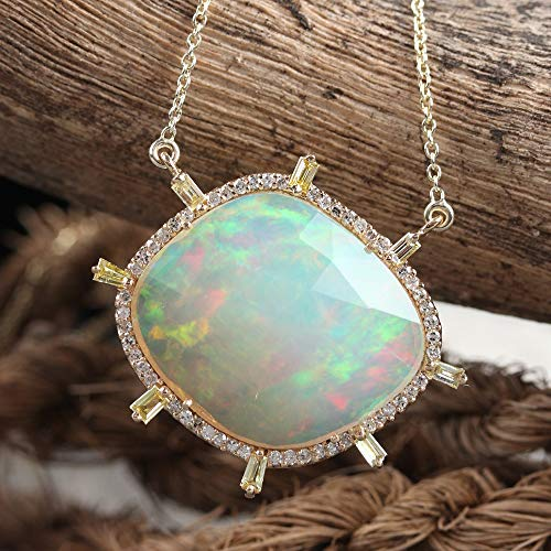 Natural Baguette Diamond Pendant Genuine Opal Gemstone Necklace Solid 14k Yellow Gold Handmade Jewelry 18 Inches Long Chain
