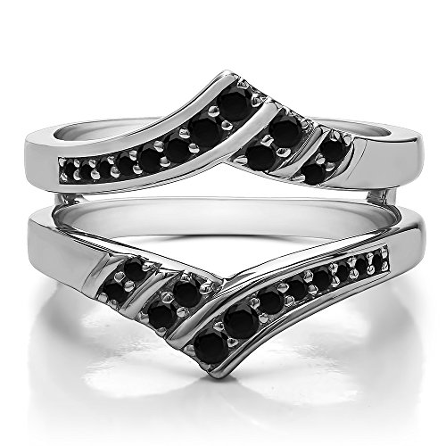 TwoBirch 0.42 ct. Black Diamonds Double Row Chevron Ring Enhancer in Sterling Silver (3/8 ct.)