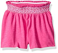 Flapdoodles Toddler Girls' Knit Short with Smocked Waist Band, Hot Pink, 3T