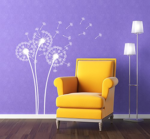 (PopDecors - Dandelions White - Beautiful Tree Wall Decals for Kids Rooms Teen Girls Boys Wallpaper Murals Sticker Wall Stickers Nursery Decor Nursery Decals PT-0102-WHT)