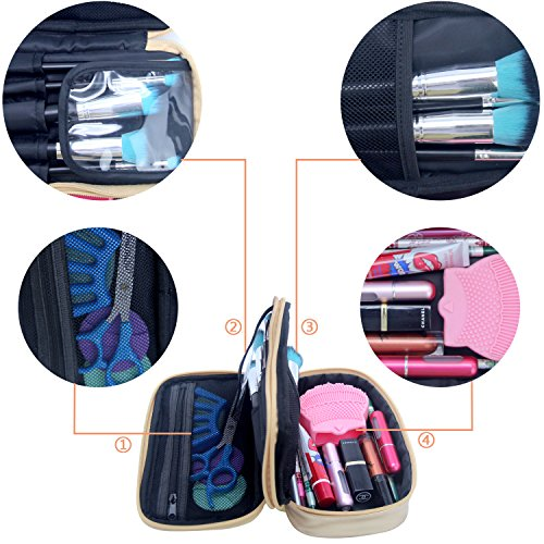MONSTINA Cosmetics Bag,Double Layer Makeup Bag,Beauty Makeup Brush Bags Travel Multi-functional Kit Organizer For Women(Champagne Gold) by MONSTINA (Image #5)