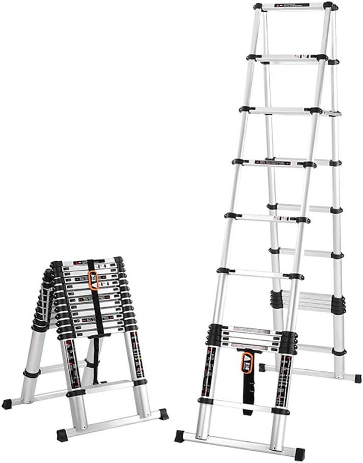 Escalera telescópica plegable multiusos con marco de 5 m con bisagras de aluminio, escalones de extensión portátiles para casa, oficina, interior y exterior, capacidad de carga de 150 kg: Amazon.es: Bricolaje y
