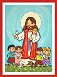 Jesus with children print Jesus print Jesus painting Jesus picture Jesus wall art Childrens wall art Good Shepherd Jesus art print Jesus Christ art Christian kids Jesus art First communion gift