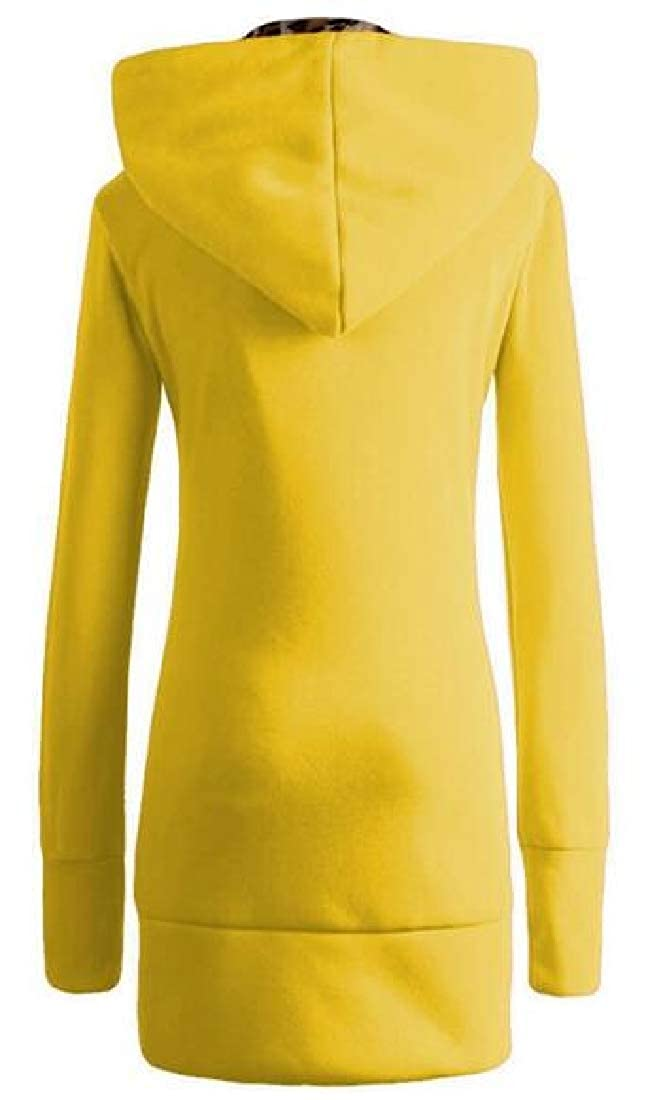 YYear Womens Fleece Zip Front Leopard Plus Size Hoodies Sweatshirt Coat Jacket