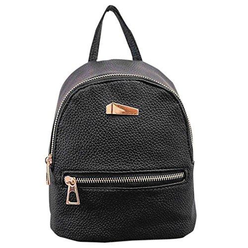 knowing Mini mochila PU Bolsa de mujer,cuero de bandolera mochila de la escuela,Señoras Niñas Bolsa de Viaje Casual,Negro