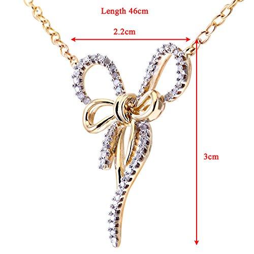 Revoni Bague en or jaune et blanc 9carats-Diamond-Collier Femme-Pendentif nœud, pendentif, longueur 42,5cm