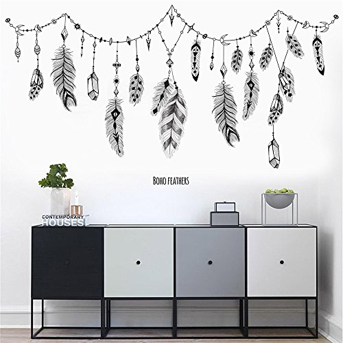 Wall Stickers, ZOMUSAR PVC Decal Removable Art Family Beautiful Feather Wall Stickers Home Words Decor Wall Sticker (Asian Wall Decals)