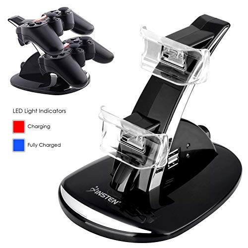 (Insten Controller Charger For PS3, 2 Port Dual USB Console Controller Charging Station Docking Stand with LED Indicators compatible with Sony Platstation 3 PS3 Slim, Black)