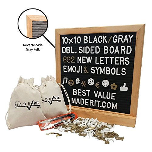 Classic Twenty Eight Light (10x10 Gray and Black Felt Double Sided Letter Board Kit + 692 White & Gold 3/4