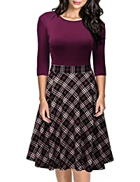 Women's Vintage Retro Plaid Patchwork A-line Cocktail...