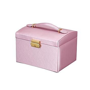 HKHJ Caja Joyero Portatil para Mujer, Cajas para Joyas con 2 ...