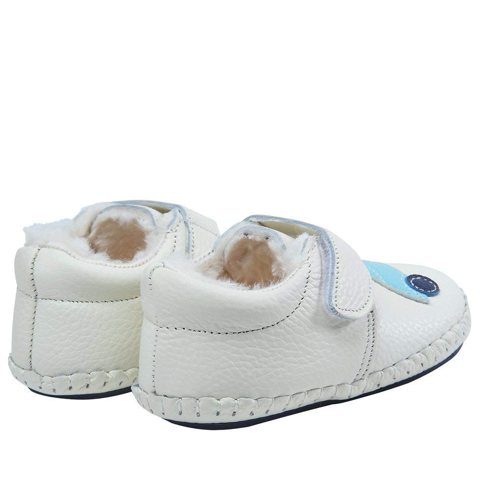 Baby Boys Girls Soft Leather Plush Non-Slip Warm Boots First Walkers Shoes