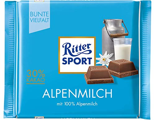 Ritter Sport Alpine Milk Chocolate Bar Candy Original German Chocolate 100g/3.52oz