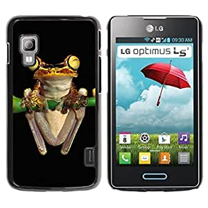 PC/Aluminum Funda Carcasa protectora para LG Optimus L5 II Dual E455 E460 Cool Neon Yellow Jungle Frog / JUSTGO PHONE PROTECTOR