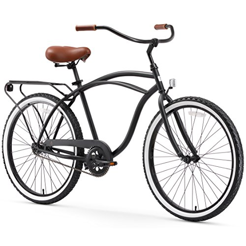 "sixthreezero Around The Block Men's Single Speed Cruiser Bicycle, Matte Black w/ Brown Seat/Grips, 26"" Wheels/19"" Frame"