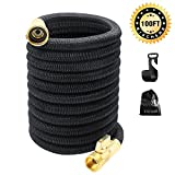 KISCHERS Garden Hose 100 ft Anti-Burst, Improved Expandable Water Hose Pipe with 3-Layers Natural Latex Core, 3/4 Solid Brass Fittings, Expanding Hose with Storage Bag & Hook