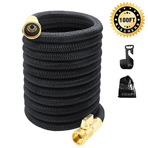 KISCHERS Garden Hose 100 ft Anti-burst, Improved Expandable Water Hose pipe With 3-layers Natural latex Core, 3/4 Solid Brass Fittings, Expanding Hose With Storage Bag & Hook by KISCHERS