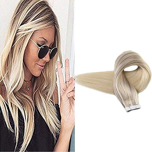 Full Shine Glue in Hair Extensions 20inch 20 Pcs 50 Gram #18 Ash Blonde Fading to #60 Plantinum Blonde and #22 Nordic Remy Ombre Dip Dye Hair Extensions 100% Human Hair (Dark Blonde To Light Blonde Dip Dye)