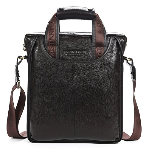 BOSTANTEN Leather Handbag Briefcase Messenger Business Work Bags for Men Coffee Small (Mens Leather Handbags)