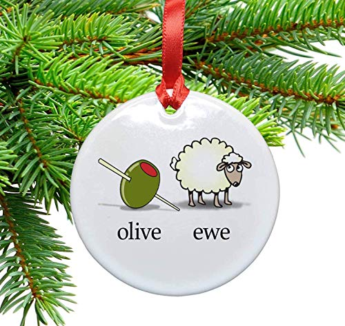 - Olive You - I Love You Ceramic Christmas ornament