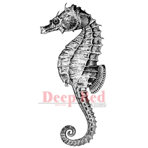 Deep Red Stamps Seahorse Rubber Stamp