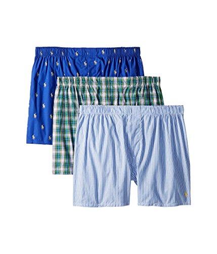 Polo Ralph Lauren Men's 1/20 3 Packaged Woven Boxers Bright Navy/Douglas Stripe/Taylor Plaid Large -