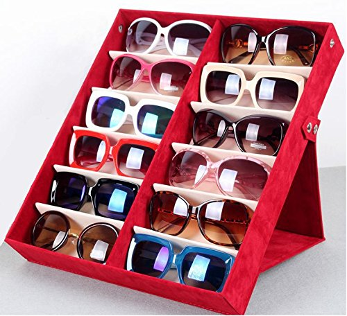 12 Pieces Sunglass Eyewear Display Storage Case Tray Organizer for Glasses, Jewellery and Watches Display wiht High-grade Flannel - Grad Sunglasses