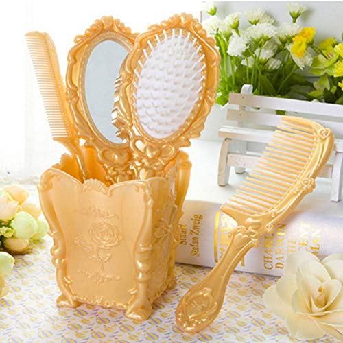 Dolovemk Girls Cosmetic Classical Make-up Hand Hair Comb Mirror Set, Vintage Hair Brushes Ideal Gift, 3 Hair Combs and 1 Mirror (Gold) (Comb Brush Mirror Set)